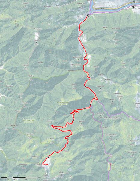 Auf dem Rad zur Ebenforstalm: Route