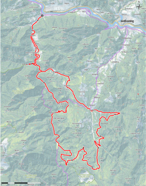 Hintergebirgs-Mountainbike-Runde: Route